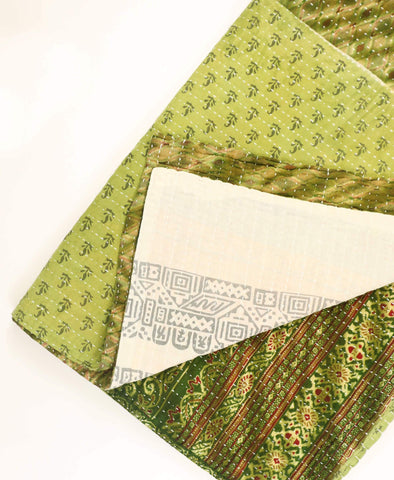 Kantha Throw Quilt - Sage Sprouts | Anchal Project
