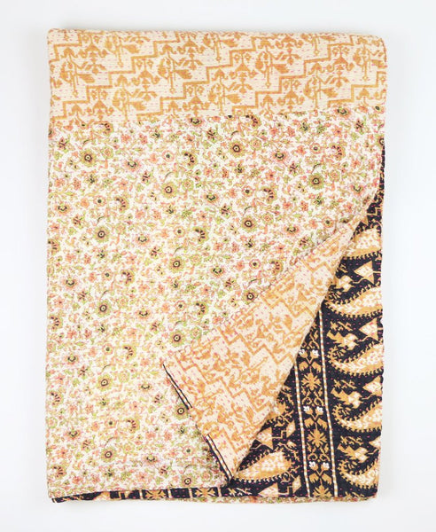 Kantha Throw Quilt - Tan and Black Flower | Anchal Project