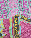 Kantha Throw Quilt - Teal and Fuchsia Flower | Anchal Project