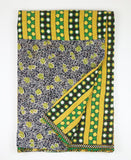 Kantha Throw Quilt - Yellow and Black Polka Dots | Anchal Project