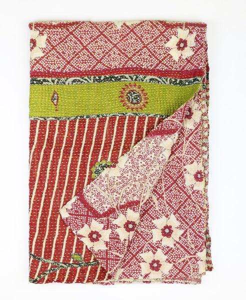 Kantha Throw Quilt - Cream and Red Daffodil | Anchal Project