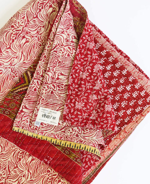 King Kantha Quilt - Cherry Mosaic | Anchal Project