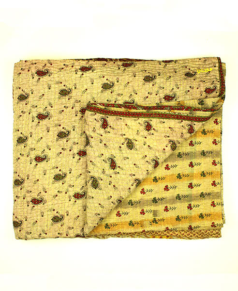 King Kantha Quilt - Yellow and Maroon Paisley | Anchal Project