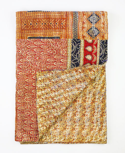 Kantha Throw Quilt - Tan and Navy Leaf | Anchal Project