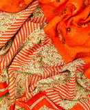 Kantha Throw Quilt - Orange Zig Zag | Anchal Project