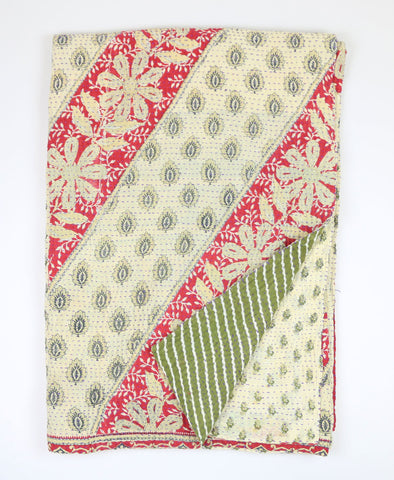 Kantha Throw Quilt - Red and Green Daisy | Anchal Project