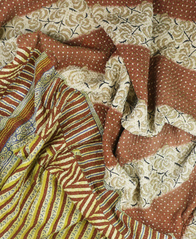 Kantha Throw Quilt - Gold Stripes
