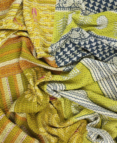 Kantha Throw Quilt - Gold and Green Leaf | Anchal Project