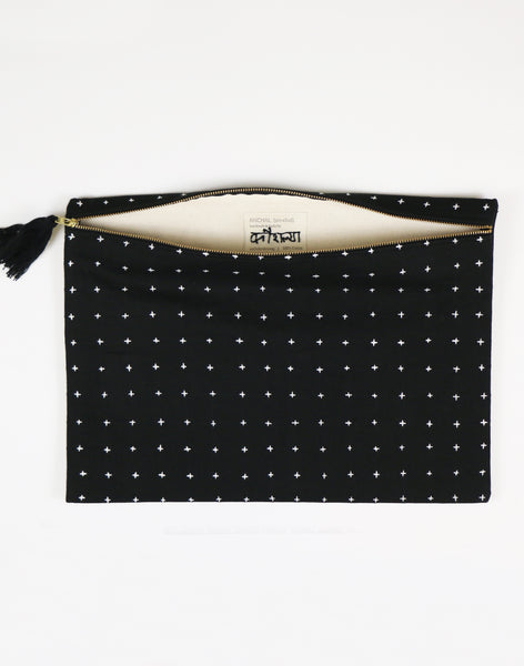 Large Cross Stitch Black Pouch