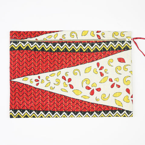 Large Kantha Pouch - Red and Yellow Petals | Anchal Project