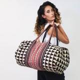 Weekender Travel Bag - Light Gray Southwestern | Anchal Project