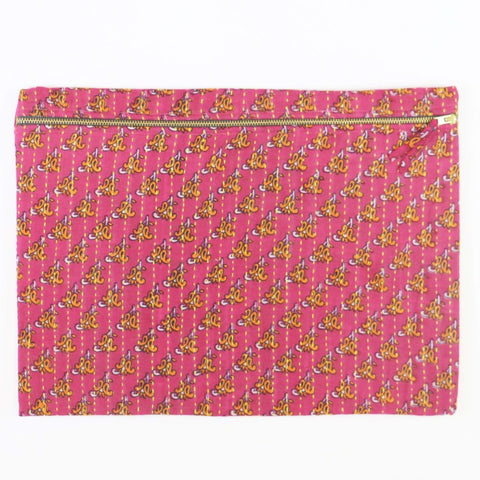 Large Kantha Pouch - Hot Pink and Orange Scroll