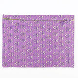 Large Kantha Pouch - Lavender Flowers