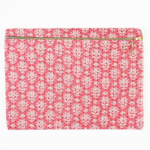 Large Kantha Pouch - Pink Flowers