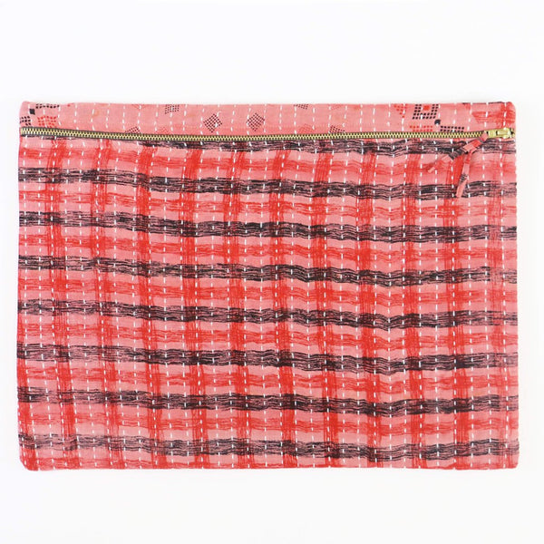 Large Kantha Pouch - Pink and Red Plaid