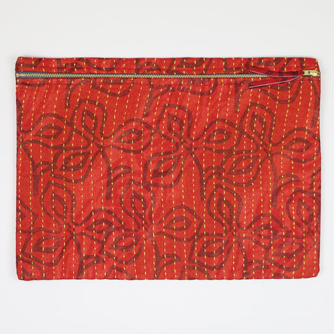 Large Kantha Pouch - Red Clovers | Anchal Project