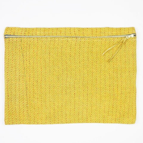 Large Kantha Pouch - Yellow Chevron