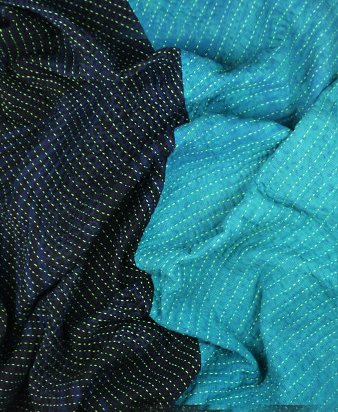 Teal Overdyed Hand-Stitched Quilt
