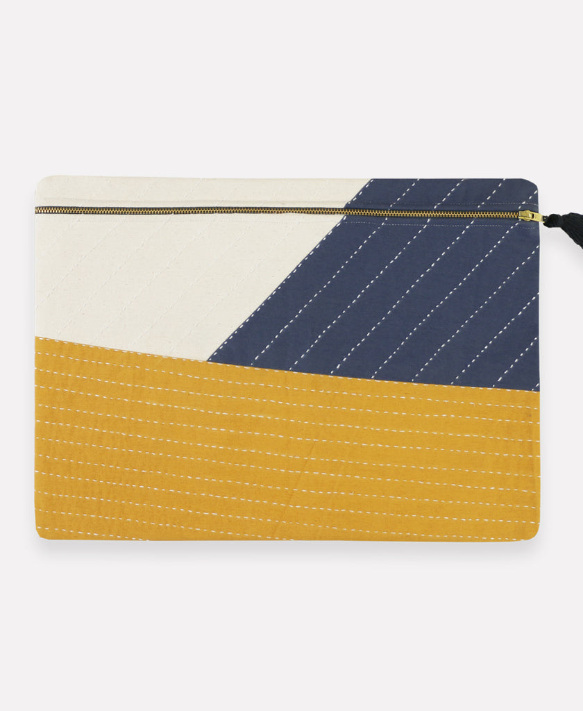Patchwork pouch handmade from organic cotton