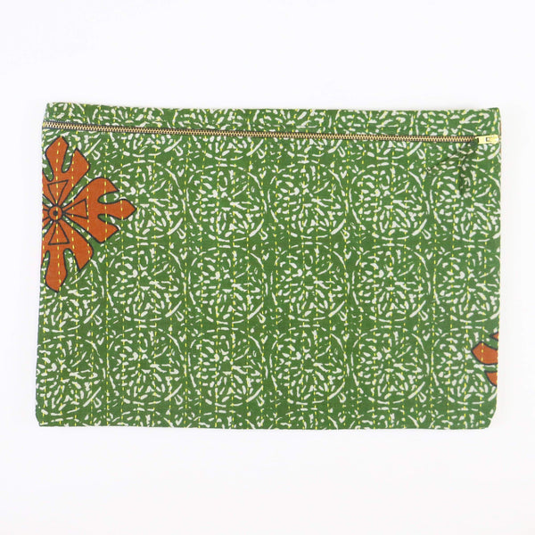 Large Kantha Pouch - Green Circles | Anchal Project