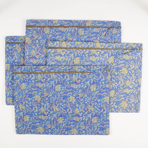 Large Kantha Pouch - Periwinkle Clematis