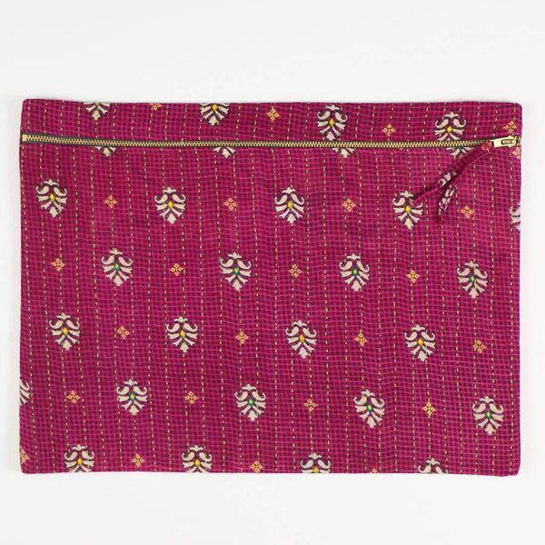 Large Kantha Pouch - Raspberry Palm Leaf