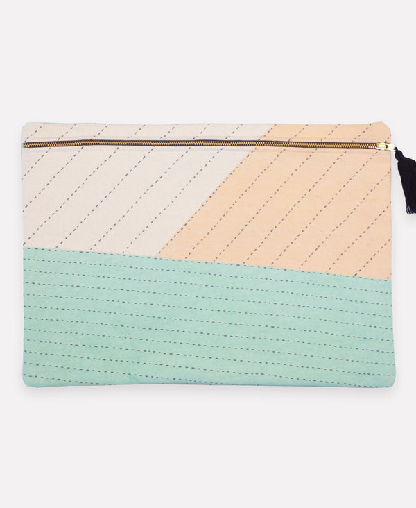 Patchwork pouch with pastel color scheme handmade by artisans