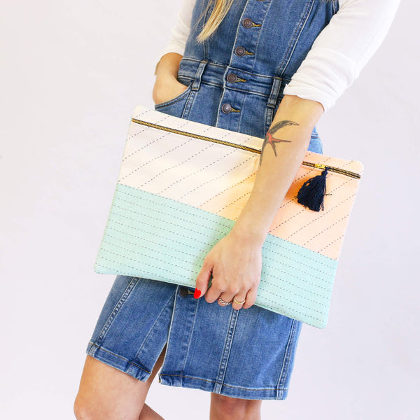 Fashionable and contemporary large handmade pouch clutch