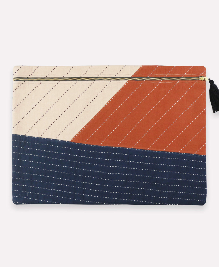 Large tricolored patchwork pouch handmade by artisans