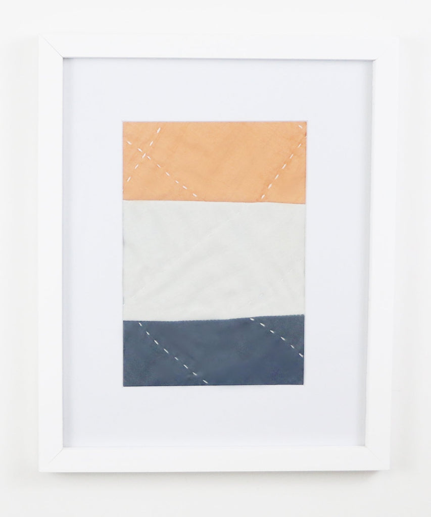 Framed Textile Art - Peach, Silver and Slate Color Block 1 | Anchal Project