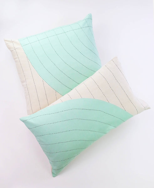 Mint Curve Lumbar Pillow - Paired with Mint Toss | Anchal Project
