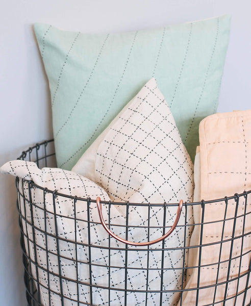 Mint Curve Lumbar Pillow - with Mini Grid Pillow | Anchal Project