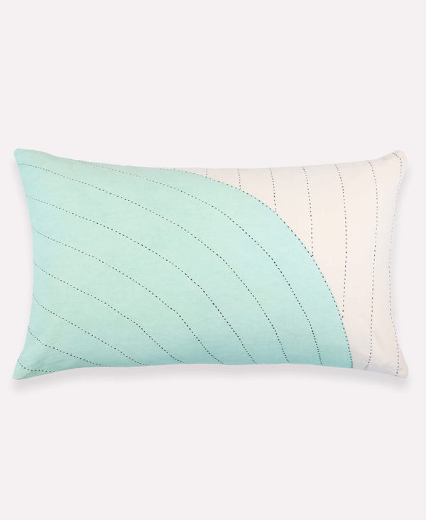 Anchal Project mint curve lumbar pillow with delicate hand-embroidery
