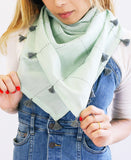 Mint Grid Square Scarf with Tassels