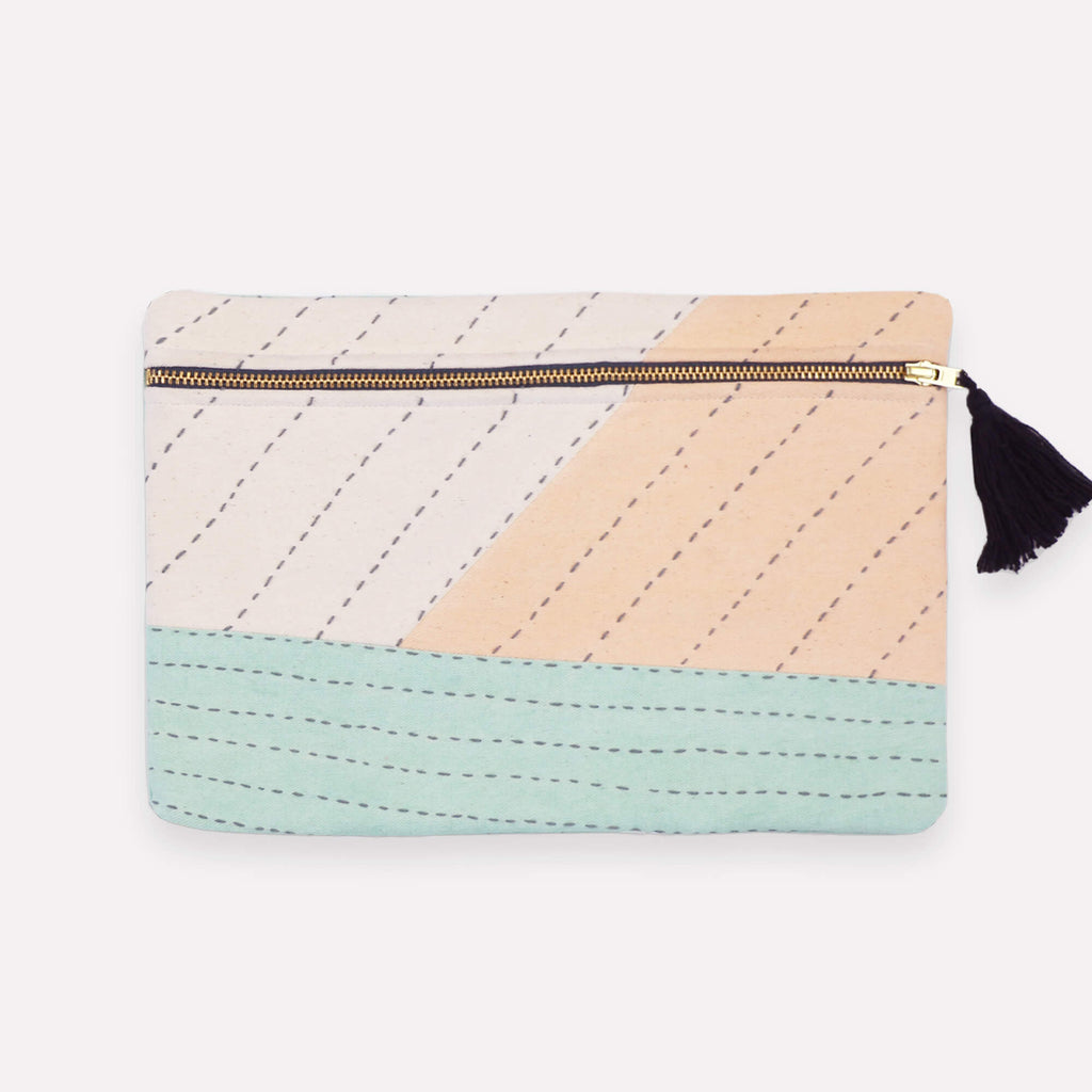 Handmade patchwork pouch clutch with pastel scheme