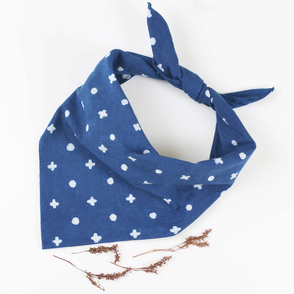Naturally Dyed Cotton Bandana - Indigo