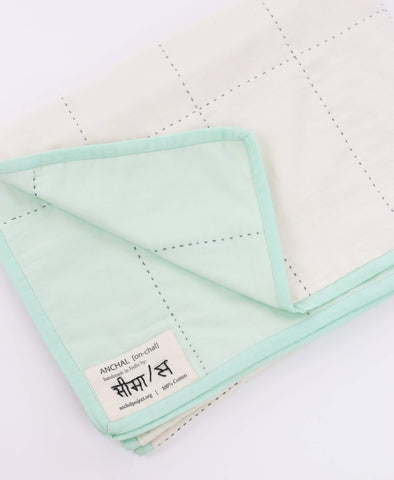 Organic Cotton Grid Throw - Mint | Anchal Project