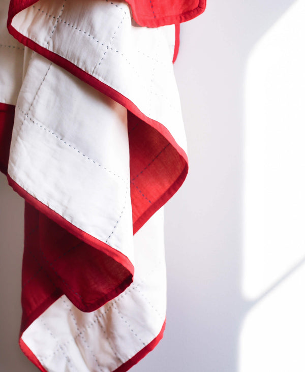 Fair trade reversible throw quilt handmade by Anchal artisans