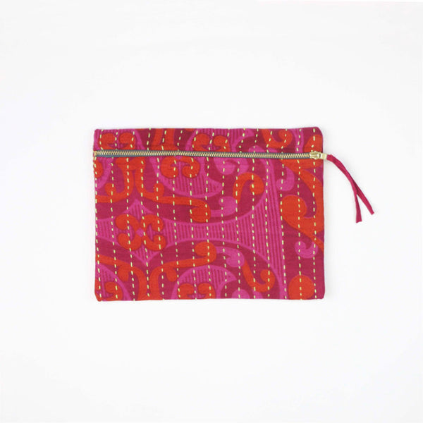 Fuchsia Overdyed Hand-Stitched Pouch