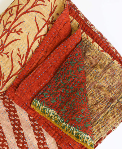 Queen Kantha Quilt - Autumn Branches | Anchal Project
