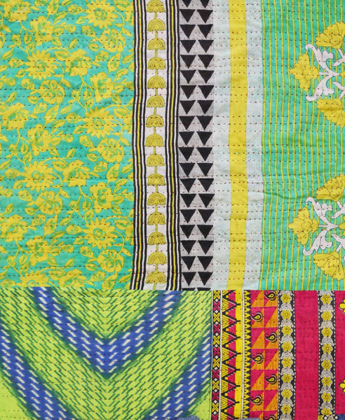 Queen Kantha Quilt - Lime Floral | Anchal Project