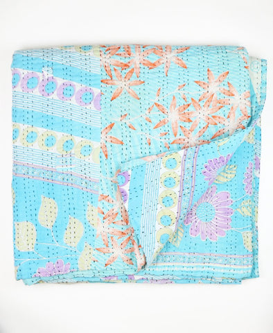 Queen Kantha Quilt - Sky Blue | Anchal Project