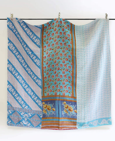 Queen Kantha Quilt - Turquoise Floral | Anchal Project