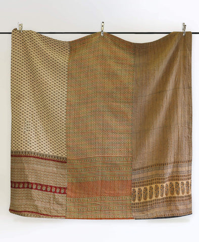 Queen Kantha Quilt - Wheat Motif | Anchal Project