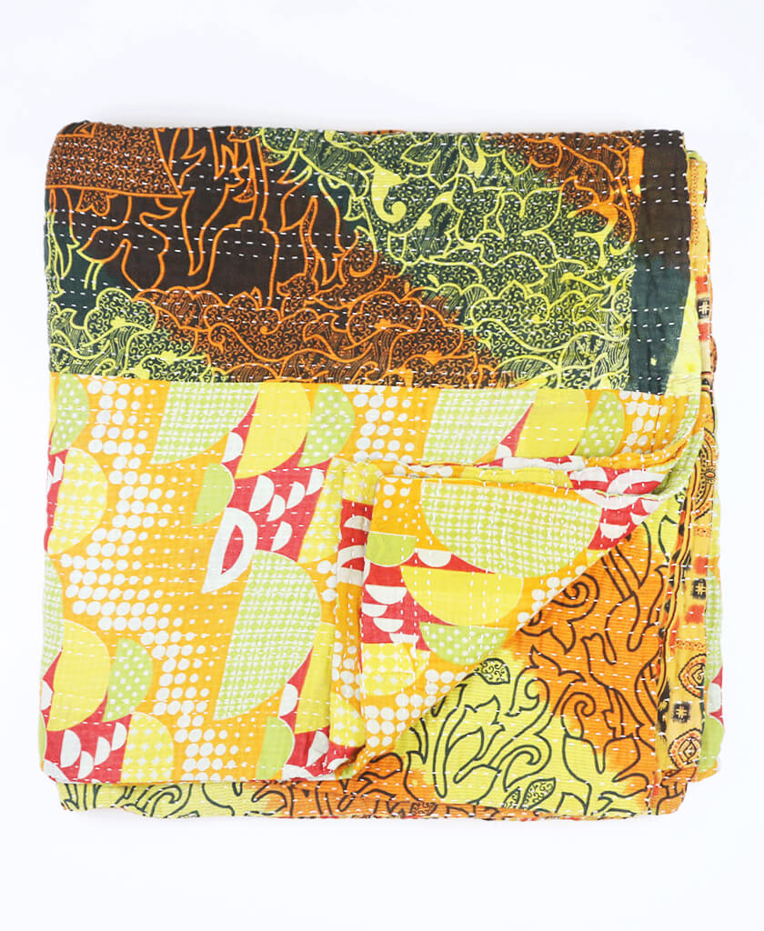 anchal and orange vine quilt queen project quilts yellow kantha products