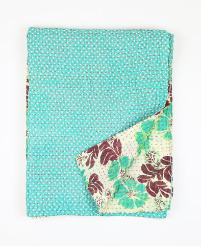 Small Kantha Quilt - Turquoise Hawaiian | Anchal Project