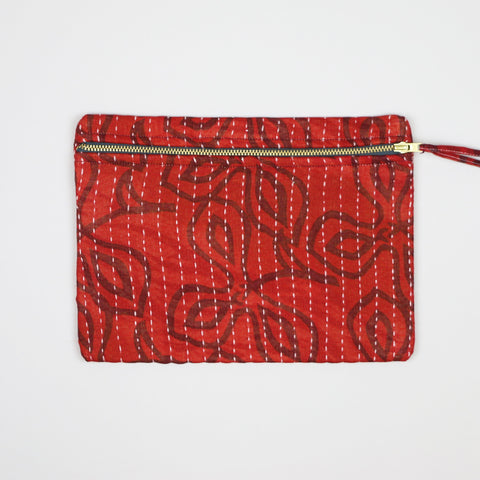 Small Kantha Pouch - Red Clovers | Anchal Project