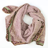 Handmade Cotton Square Scarf - Mauve Diamonds | Anchal Project