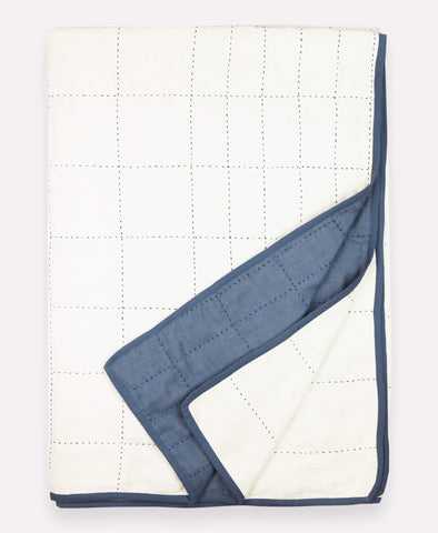 Organic Cotton Grid Throw - Slate