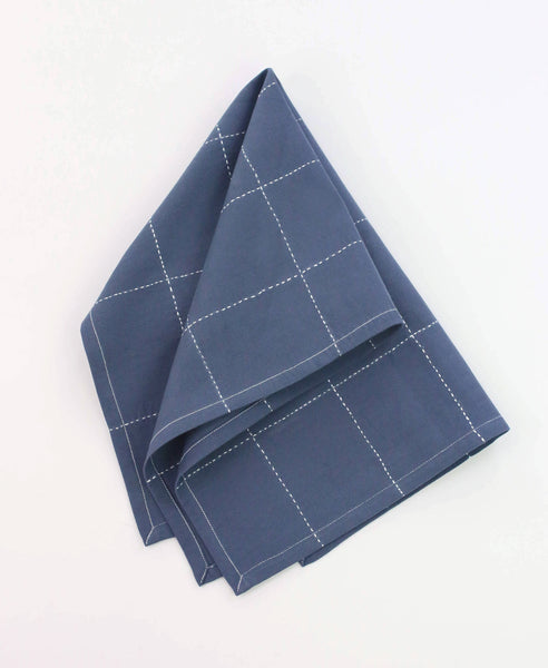 Organic Grid Stitch Tea Towel - Slate